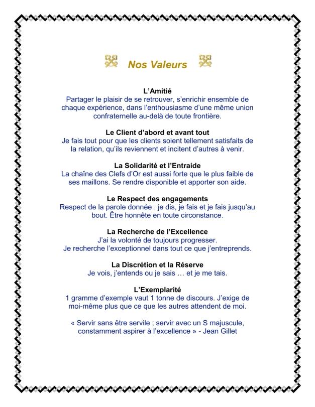 Nos Valeurs - Clefs d'Or France