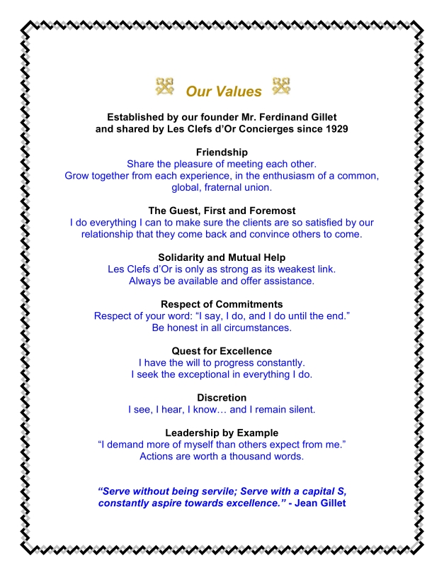 Our Values - Clefs d'Or France
