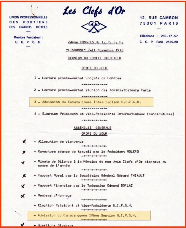 1976 Lisbonne - Ordre du jour